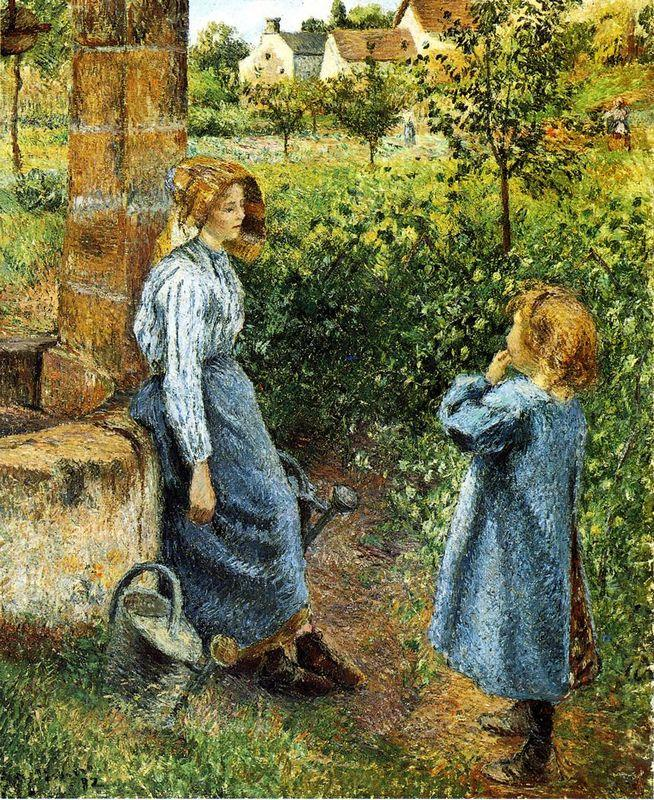 Young Woman and Child at the Well - Camille Pissarro