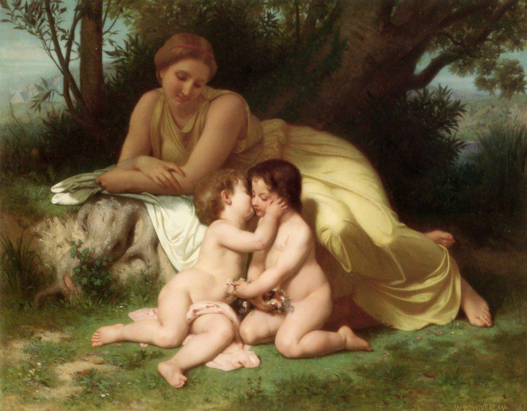 Young Woman Contemplating Two Embracing Children - William-Adolphe Bouguereau