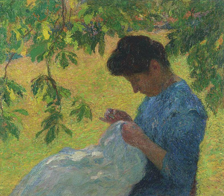 Young Woman Sewing in the Garden - Henri Martin