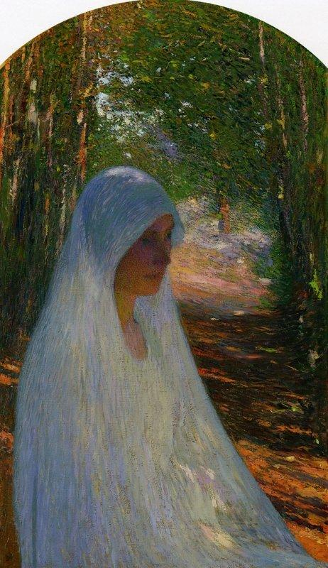 Young Woman Veiled in White in a Forest - Henri Martin