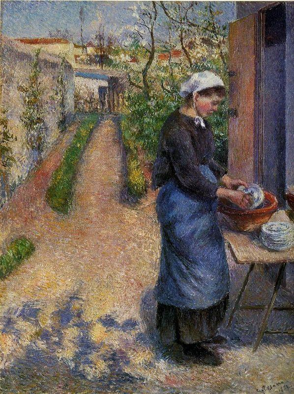 Young Woman Washing Plates - Camille Pissarro