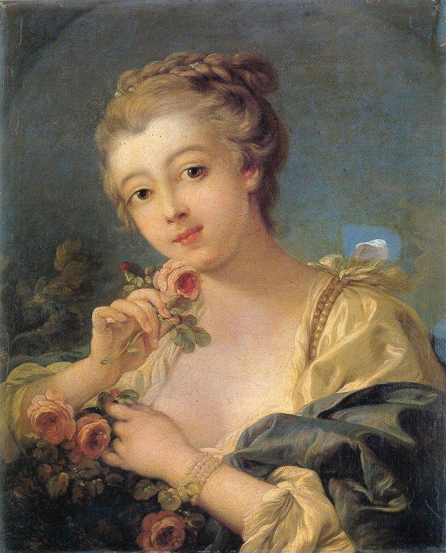 Young Woman with a Bouquet of Roses - Francois Boucher