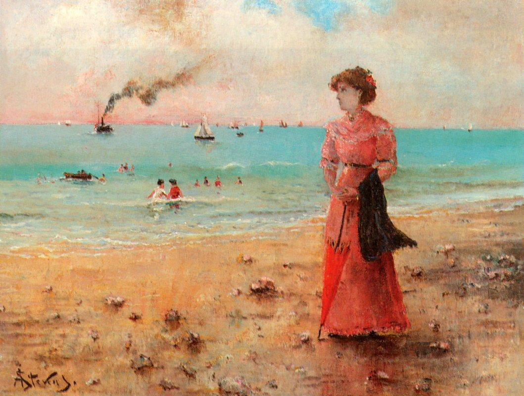 Young woman with the red umbrella by the sea - Alfred Stevens