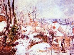A Cottage in the Snow – Camille Pissarro
