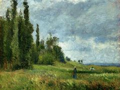 A part of Groettes, Pontoise, Gray Weather – Camille Pissarro