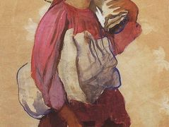 A peasant woman with rolls of canvas on her shoulder and in her hands – Zinaida Serebriakova