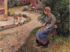 A Servant Seated in the Garden at Eragny – Camille Pissarro
