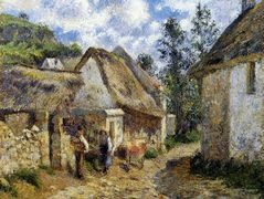 A Street in Auvers (Thatched Cottage and Cow) – Camille Pissarro