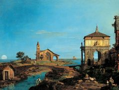 An Island in the Lagoon with a Gateway and a Church – Canaletto