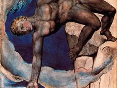 Antaeus setting down Dante and Virgil in the last circle of hell – William Blake