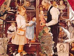 April Fool Girl with Shopkeeper – Norman Rockwell