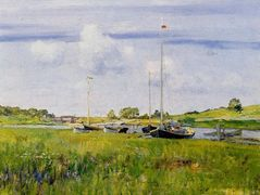 At the Boat Landing — William Merritt Chase
