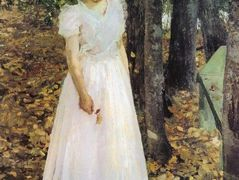 Autumn.Young Woman in a Garden – Konstantin Korovin