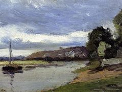 Banks of a River with Barge – Camille Pissarro
