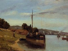Barges at Le Roche Guyon – Camille Pissarro