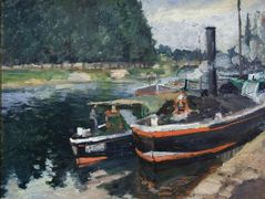 Barges on Pontoise – Camille Pissarro