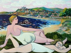 Bathers on the beach in Santander – Rafael Zabaleta