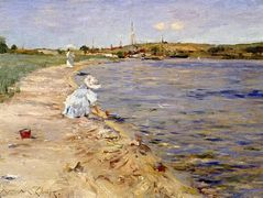 Beach Scene — Morning at Canoe Place — William Merritt Chase