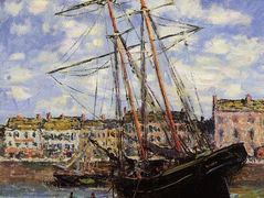 Boat at Low Tide at Fecamp — Claude Monet