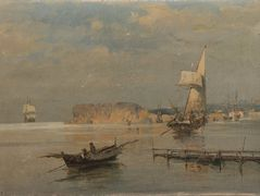Boats in a port – Konstantinos Volanakis
