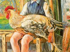 Boy sitting with a hen on his lap – Rafael Zabaleta