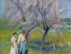 Brides walk under the apple trees – Henri Martin