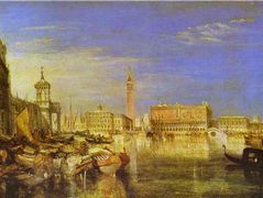 Bridge of Sighs, Ducal Palace and Custom House, Venice Canaletti Painting – William Turner