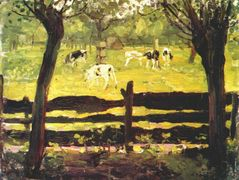 Calves in a Field Bordered by Willow Trees — Piet Mondrian