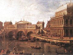 Capriccio: a Palladian Design for the Rialto Bridge, with Buildings at Vicenza – Canaletto