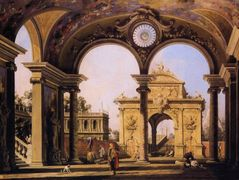 Capriccio of a Renaissance Triumphal Arch seen from the Portico of a Palace – Canaletto