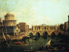 Capriccio of the Grand Canal With an Imaginary Rialto Bridge and Other Buildings – Canaletto