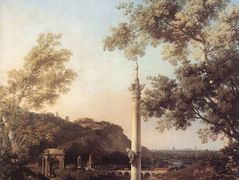Capriccio: River Landscape with a Column – Canaletto