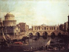 Capriccio: The Grand Canal, with an Imaginary Rialto Bridge and Other Buildings – Canaletto