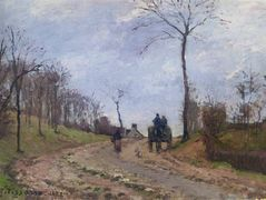 Carriage on a Country Road, Winter, Outskirts of Louveciennes – Camille Pissarro