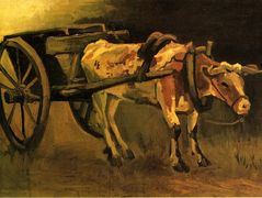 Cart with Red and White Ox – Vincent van Gogh