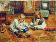 Children playing in the Workshop – Konstantin Makovsky