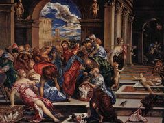 Christ driving the traders from the temple — El Greco