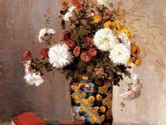 Chrysanthemums In a Chinese Vase – Camille Pissarro