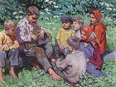 Cither Playing – Nikolay Bogdanov-Belsky