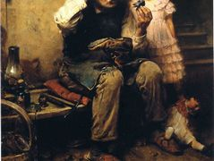 Cobbler Studying Doll's Shoe – Norman Rockwell