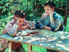 Connoisseurs of books (Knowledge is Power) – Nikolay Bogdanov-Belsky