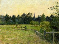 Cowherd in a Field at Eragny – Camille Pissarro