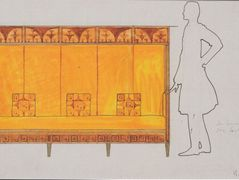 Draft drawings for the breakfast room of the apartment Eisler Terramare, proportion of study seat – Koloman Moser