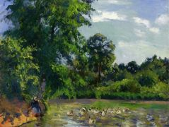 Ducks on the Pond at Montfoucault – Camille Pissarro