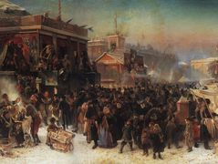 Fair Booths on Admiralty Square, St. Petersburg – Konstantin Makovsky