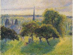 Farm and Steeple at Sunset – Camille Pissarro
