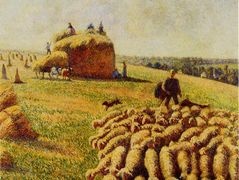 Flock of Sheep in a Field after the Harvest – Camille Pissarro