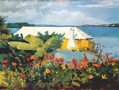 Flower garden and bungalow, Bermuda – Winslow Homer