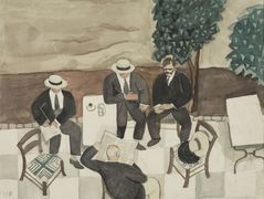 Four men at a cafe  – Yiannis Tsaroychis