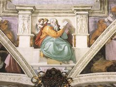 Frescoes above the entrance wall — Michelangelo
